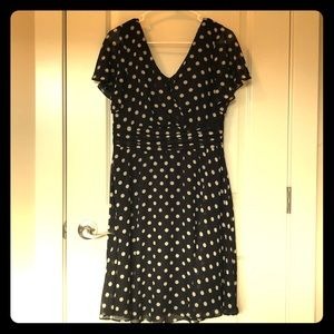 Black and cream polka dot dress